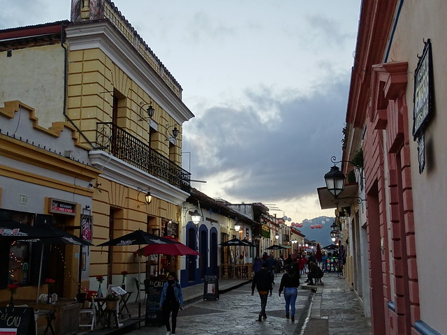 Street Scene at Dusk along Real de Guadalupe - San Cristobal de las Casas - Chiapas - Mexico - 01