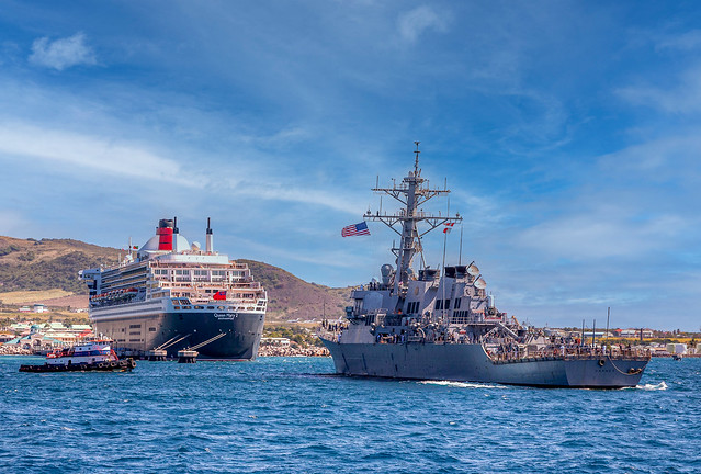 Queen Mary 2 Being Approached by U.S. Navy Destroyer