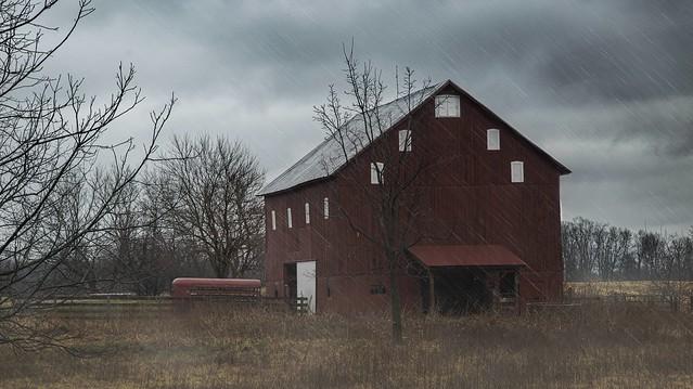 Rainy Red Barn