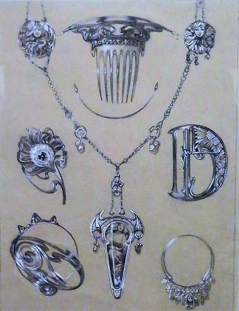 Dessins de bijouex par Alfons Mucha