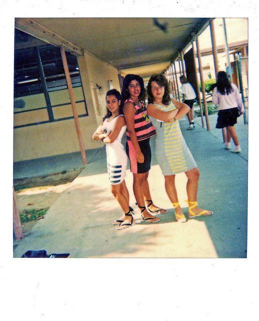 Three Girls pose in Open-Air School Hallway 1980s