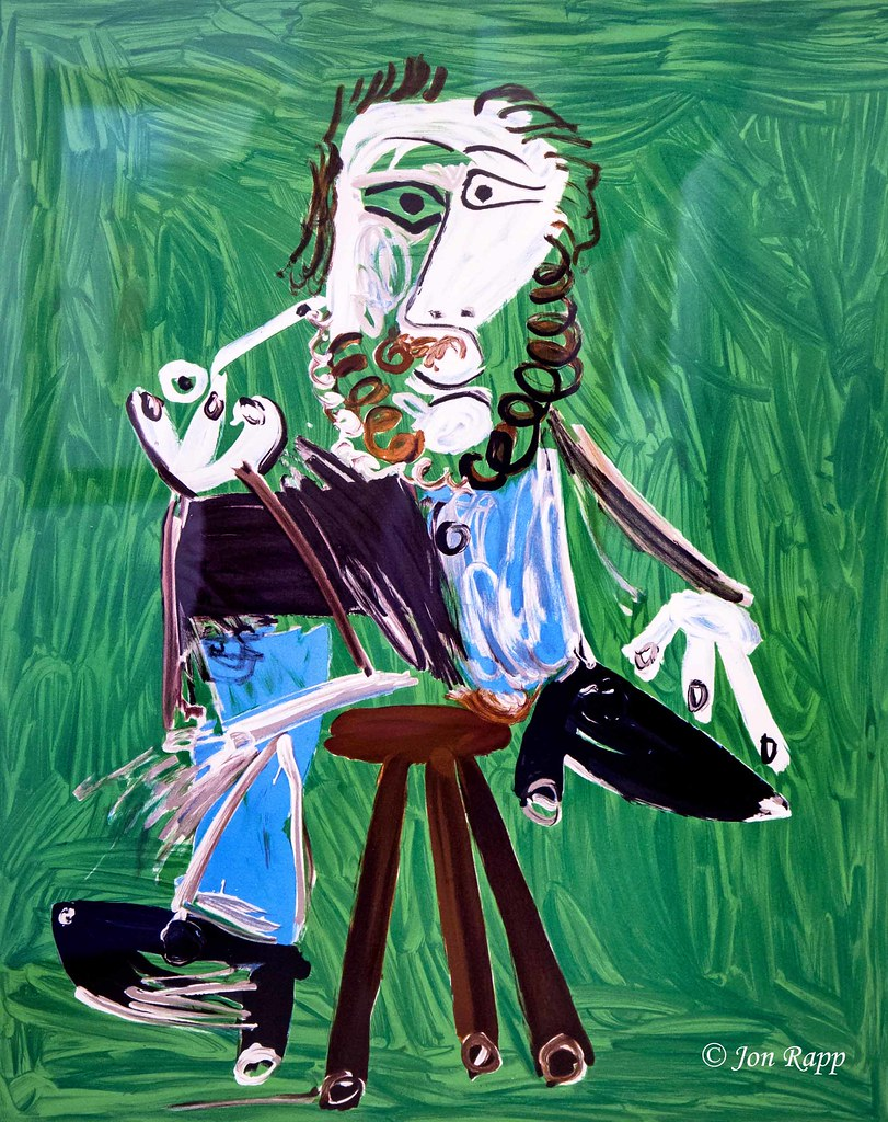 1969 Man With Pipe Sitting On Stool lithograph by Pablo Picasso (SBG) (edit)