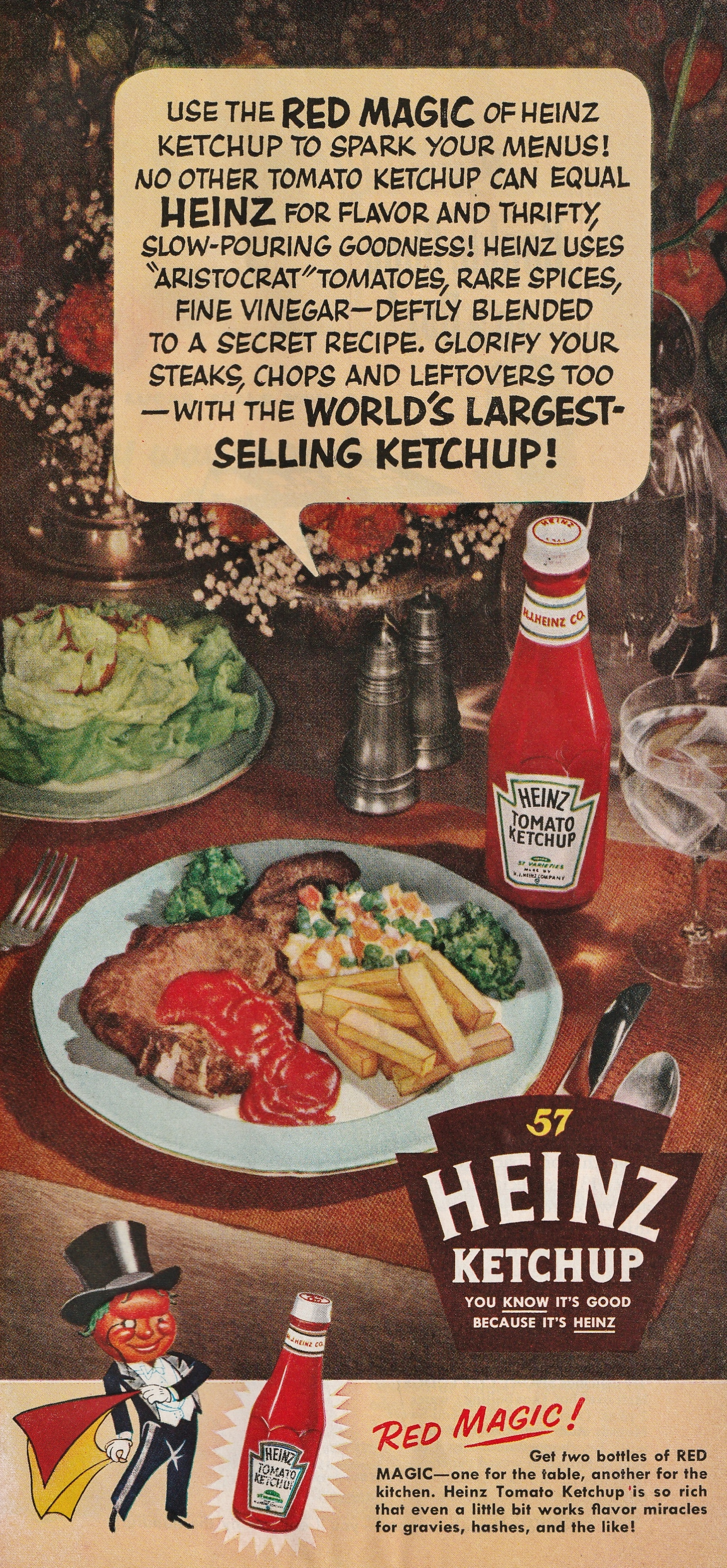 Heinz Ketchup - published in Good Housekeeping - March 1954