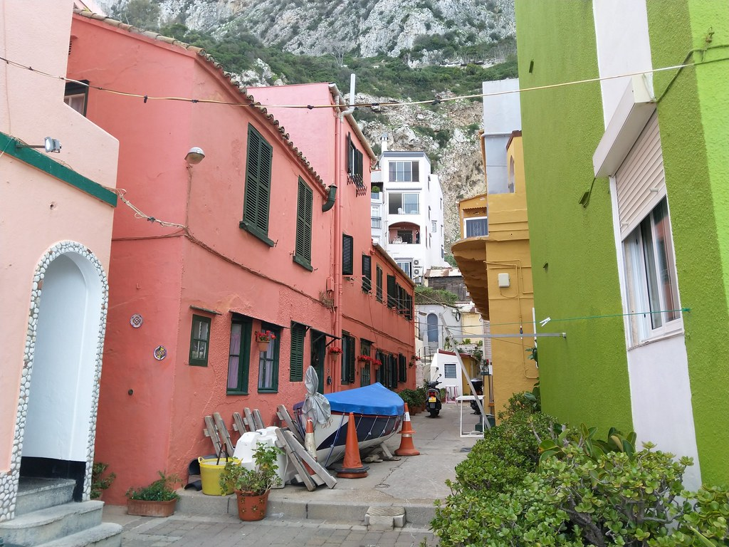 Colourful buildings at Catalan Bay, Gibraltar