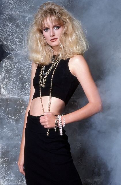 Kodachrome Slide of Model in Black Outfit, 1985