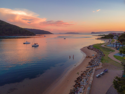waterfront sunset nature water drone bay sky aerial evening newsouthwales clouds sea nsw brisbanewater ettalongbeach coastal australia foreshore ettalong twilight channel outdoors waterscape brokenbay centralcoast landscape mountain
