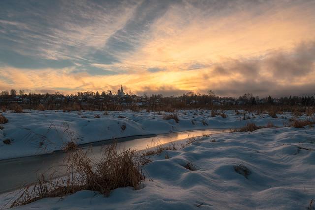 Winter Sunset on the Bebrya River