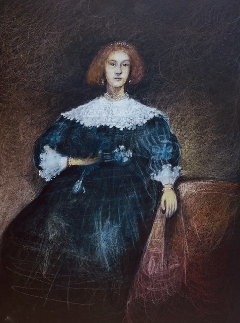 My version of, Lady with a Fan by Rembrandt. Derwent Lightfast coloured pencil drawing on black card by jmsw. Last stage of 4.