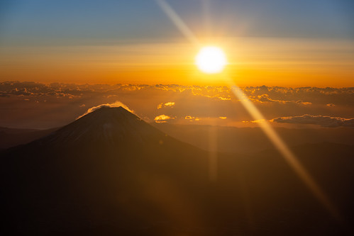 Mount Fuji with first sunrise in 2021