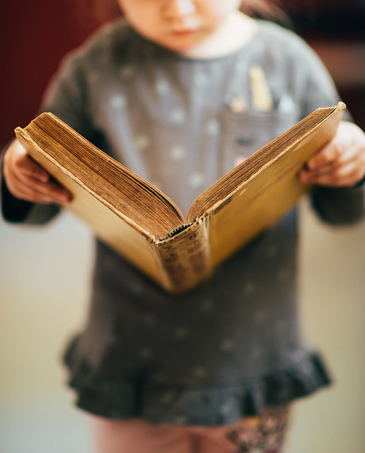 Little girl reading a book at home closeup.