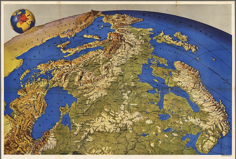 Map of Europe seen from Russia (1950s)