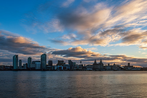 merseyside england unitedkingdom sunrise threegraces liver building cunard port liverpool seascape cityscape landscape river mwersey