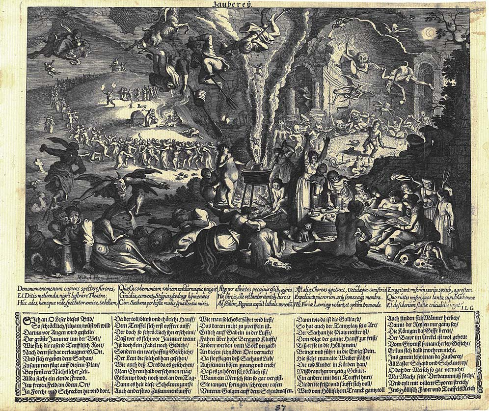 Matthäus Merian der Jüngere, Eigentlicher Entwurf und Abbildung deß gottlosen und verfluchten Zauber Festes, 1626, Nürnberger Flugblatt