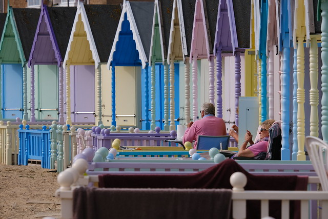 Colourful beach huts at West Mersea Essex