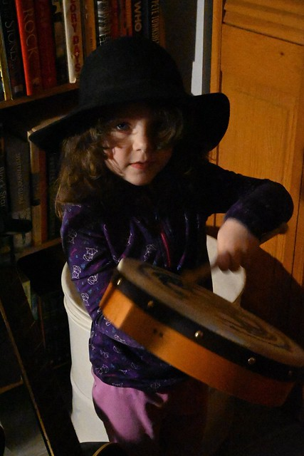 Celt to the bone! My granddaughter playing the bodhram on New Year's Eve.
