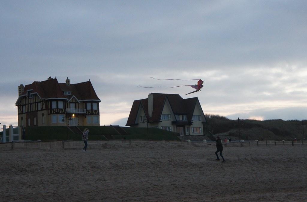 Volando cometas en la playa