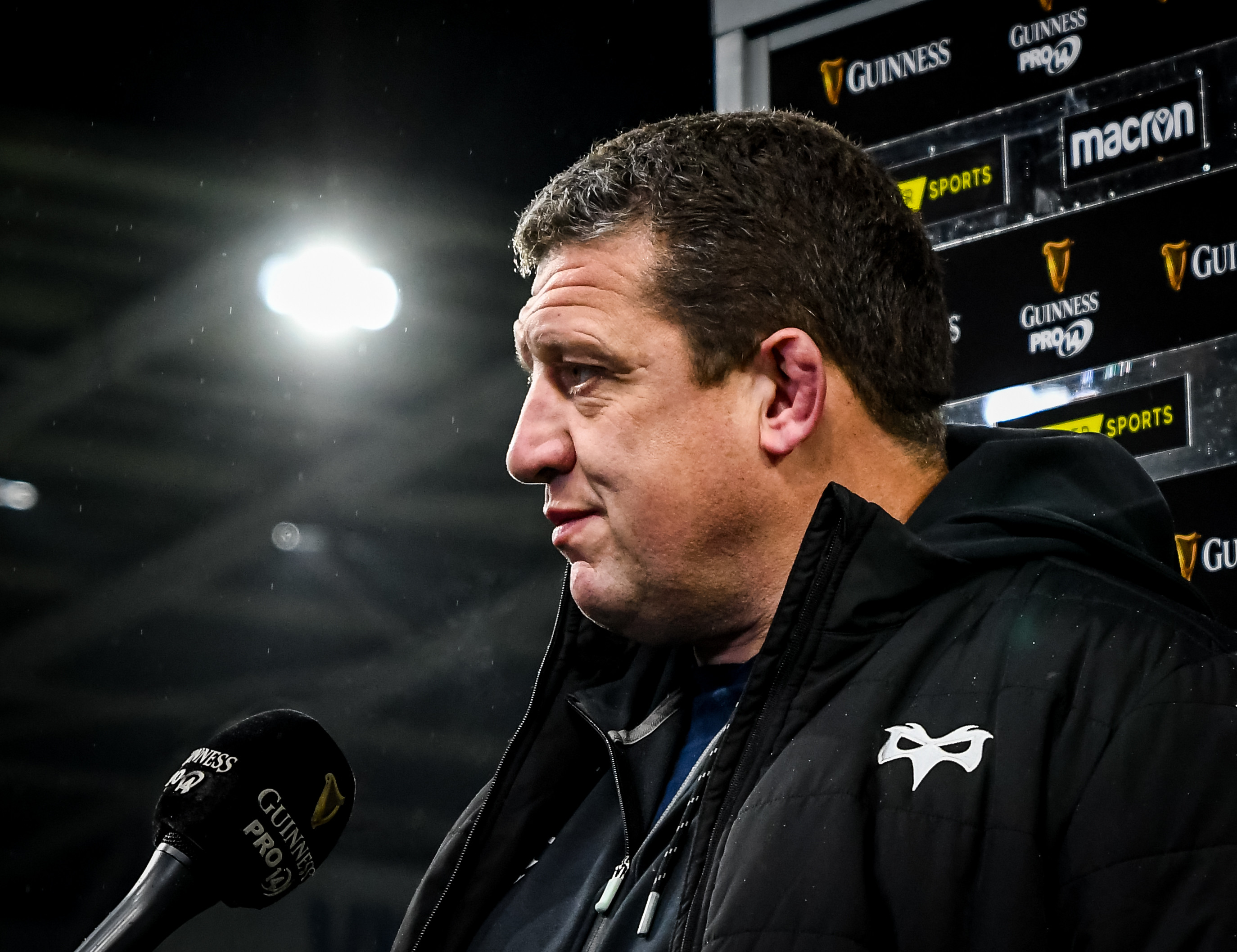Ospreys Head Coach Toby Booth addressing the media