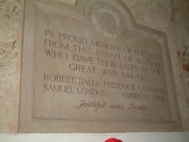 Irstead War Memorial - Great War