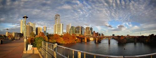 austin tx texas ladybirdlake townlake lake river downtown landscape pflugerbridge pedestrianbridge sunset