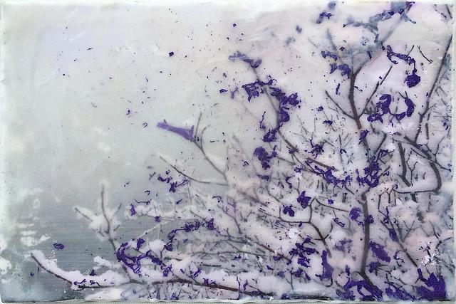 Encaustic winter painting