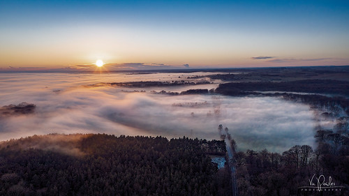 dronephotography dronepointofview droneshots fog mist sunset wintersunset