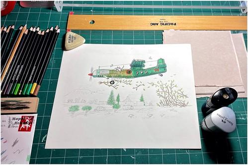 sketches drawings coloredpencil landscape airplane mice birds drawingtable cuttingsurface pencils drawing artsupplies stevefrenkel envelope postagestamp sharpeners