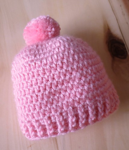 Pink Pom Pom Baby Hat