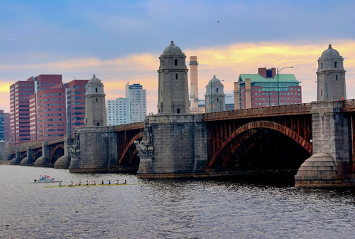 sunset bridge longfellow boat city skyline cloud skyscape landscape water charlesriver boston kendall square architecture bird rusty tower street people