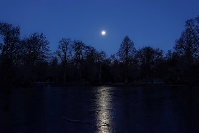 Moon reflection on an icy lake!