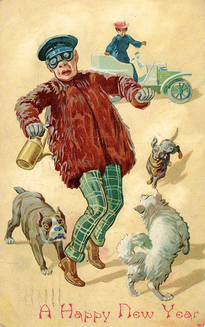 While you're out motoring on New Year's Day beware of attacks from English Bulldogs, Dachshunds and American Eskimo dogs!