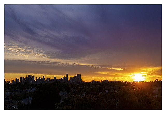 Melbourne skyline and a New Year's Day sunset