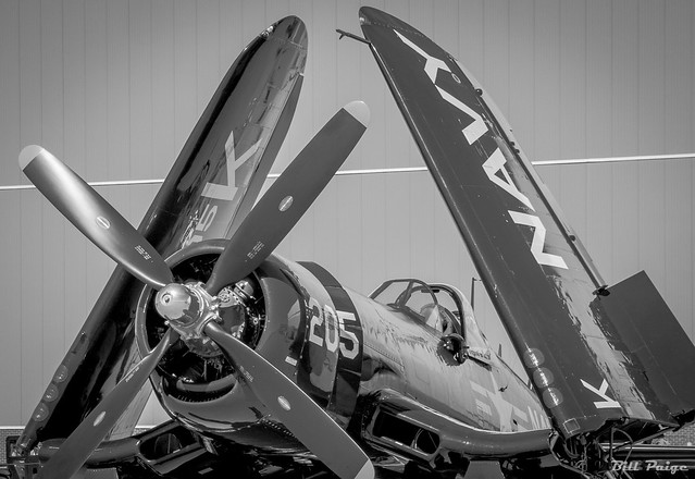 Post Flight F-4U Corsair in Black and White