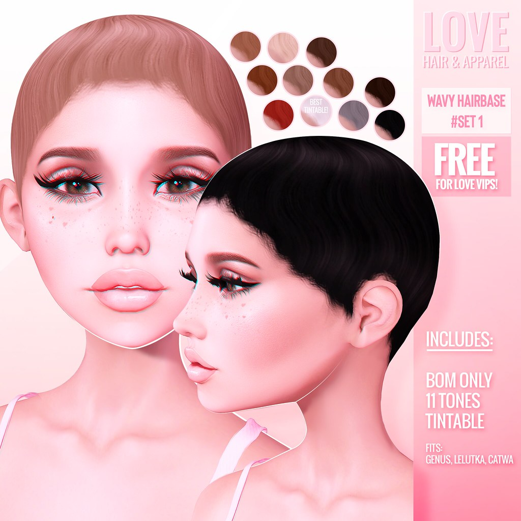 Love [Wavy Hairbase Set #1] @ The Main Store – FREE for Love VIPS!