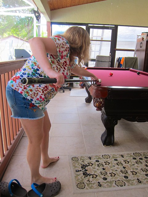 Sue Playing Pool On The Porch