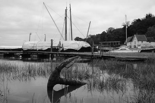 Black and white photo - ship anchor at high tide at Pin Mill
