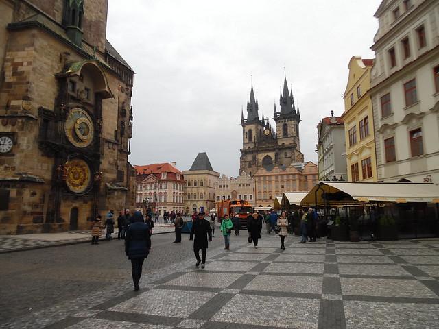 Prague Tyn Church and Astro Clock Tower