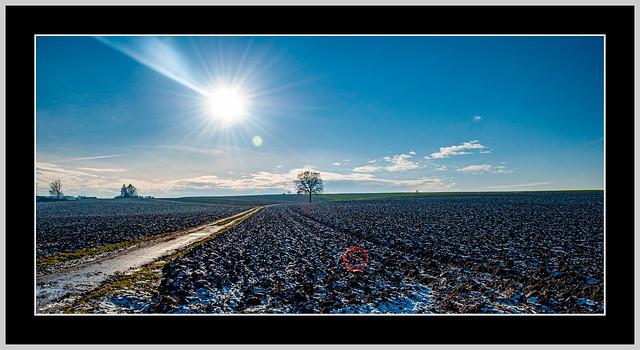 Winterstimmung, auch wenn der Acker nur leicht mit Schnee überzuckert ist. Tettenweis (Niederbayern)