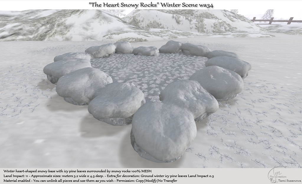".:Tm:.Creation ""The Heart Snowy Rocks"" Winter Scene wa34"