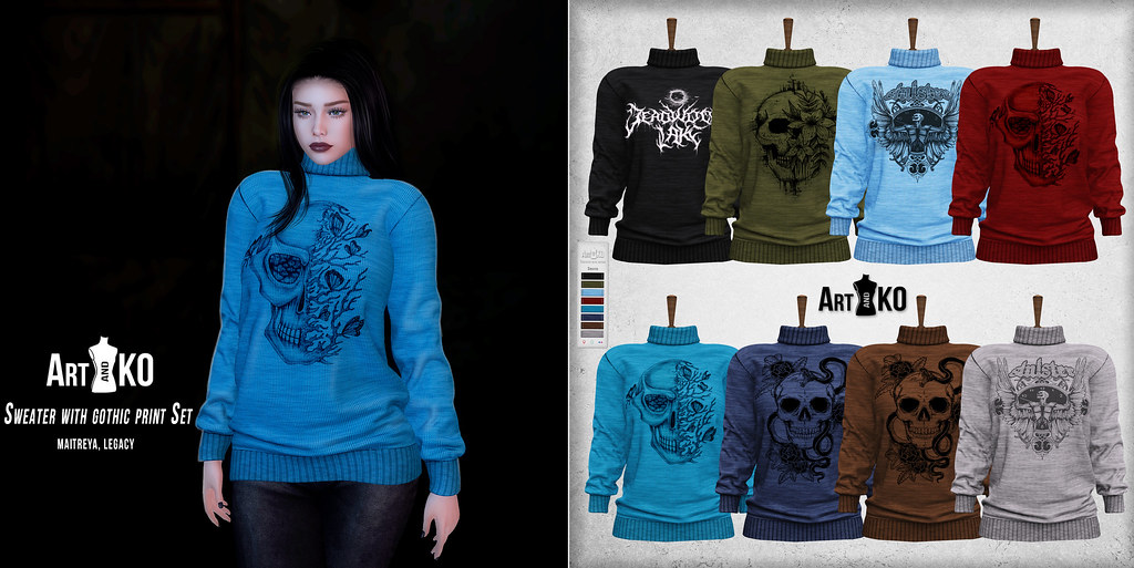 Art&Ko – Sweater with gothic print Set – Darkness