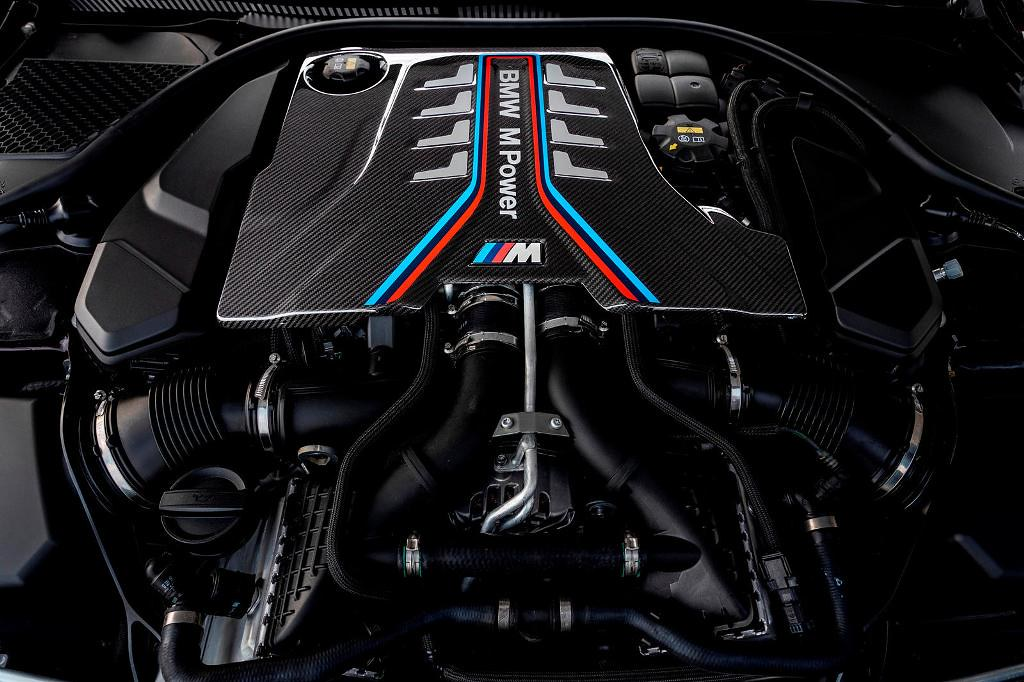 The twin-turbocharged 4.4-liter S63 V8