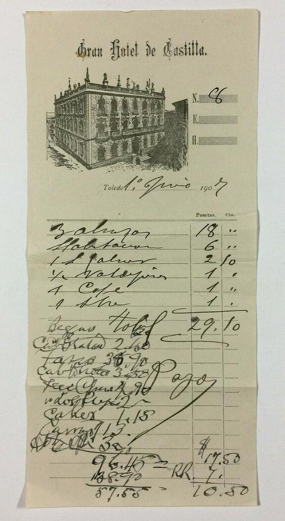 Factura del Hotel Castilla del 1 de junio de 1907