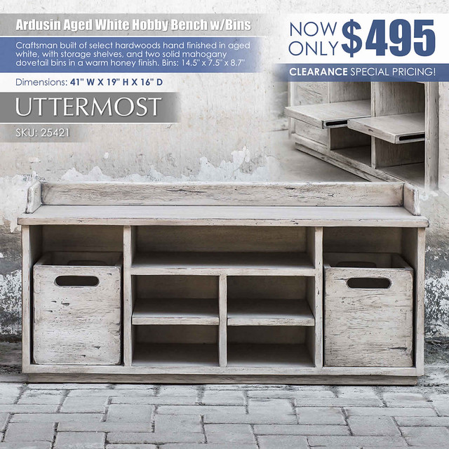 Ardusin Aged White Hobby Bench by Uttermost_25421