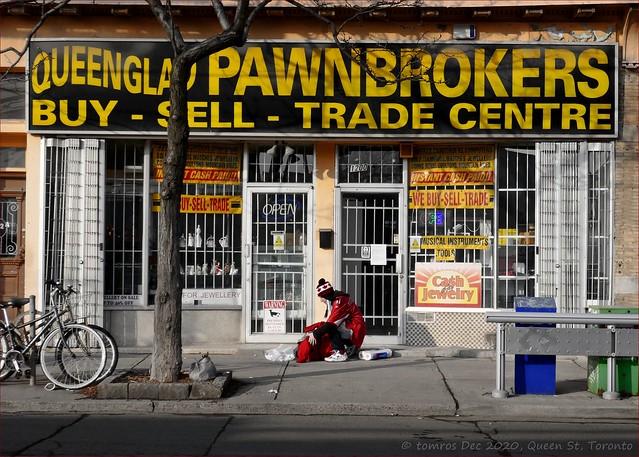 Broken Bag Lady. Shit happens. Queen St. Pawnbrokers.