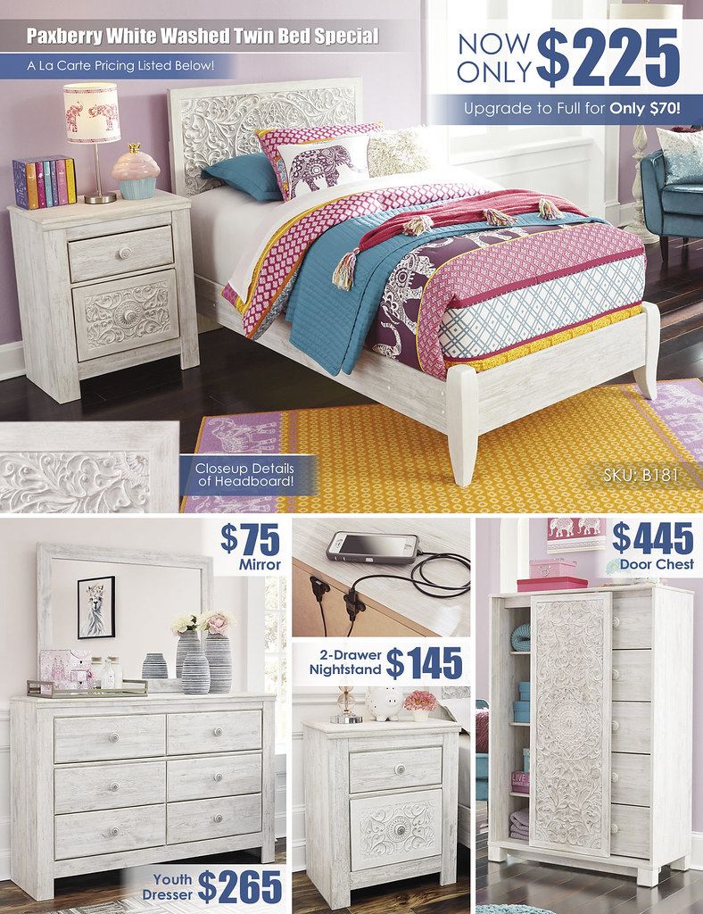 Paxberry White Washed Twin Bed Special_A La Carte_B181_Update