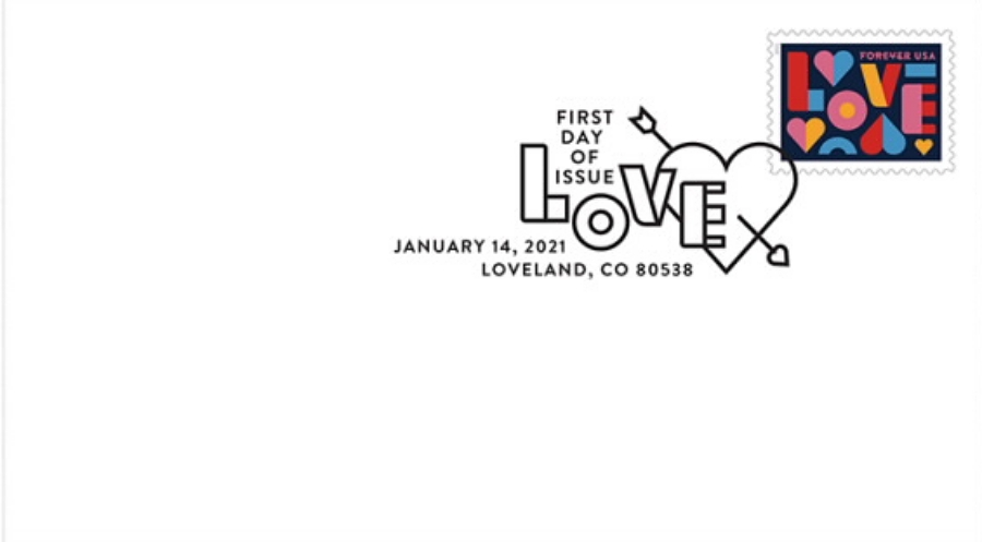 United States: Love, 14 January 2021 (first day cover, pictorial postmark)
