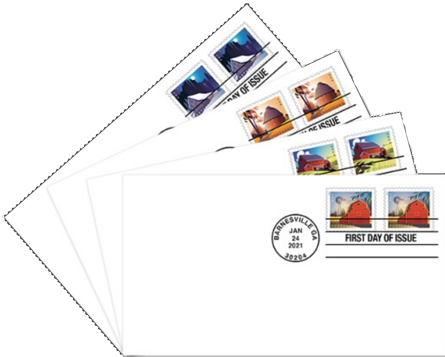 United States: Barns, 24 January 2021 (first day covers)
