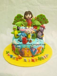 Dora the Explorer Birthday Cake 爱探险的朵拉蛋糕
