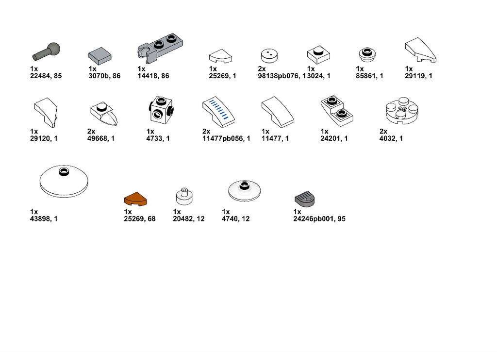 Parts list - printed pieces optional but add nice detail.
