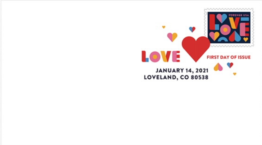 United States: Love, 14 January 2021 (first day cover, digital color postmark)
