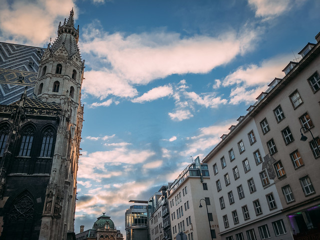 City square in Vienna. St. Stephen's cathedral